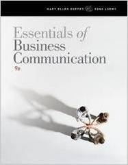 Essentials of Business Communication 9th Edition 9781111821234 1111821232