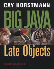 Big Java: Late Objects 1st Edition 9781118087886 1118087887