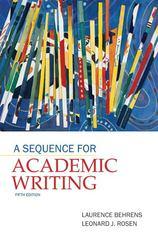 A Sequence for Academic Writing 5th edition 9780205172887 0205172881