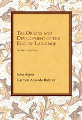 The Origins and Development of the English Language 7th Edition 9781285528878 1285528875
