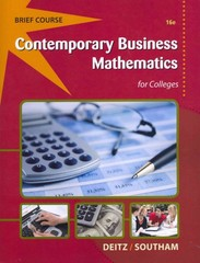 Contemporary Business Mathematics for Colleges, Brief 16th edition 9781285225838 128522583X