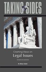 Taking Sides: Clashing Views on Legal Issues 15th edition 9780078050282 0078050286