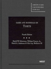 Cases and Materials on Torts 4th Edition 9780314906878 0314906878