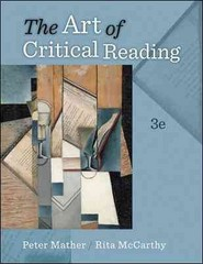The Art of Critical Reading 3rd Edition 9780073407210 0073407216