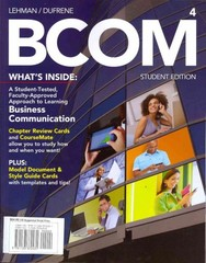 BCOM (with Business Communication CourseMate with eBook Printed Access Card) 4th edition 9781133372431 1133372430