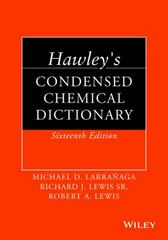 Hawley's Condensed Chemical Dictionary 16th Edition 9781118135150 1118135156