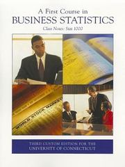 A First Course in Business Statistics 3rd edition 9780555051528 0555051528
