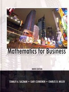 Mathematics for Business and MyMathLab/MyStatLab -- Valuepack Access Card Package 9th edition 9780131391192 0131391194