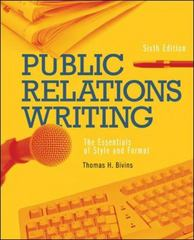 Public Relations Writing: The Essentials of Style and Format 6th edition 9780073511924 0073511927