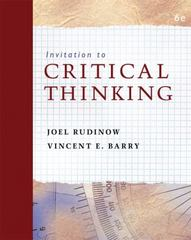 Invitation to Critical Thinking 6th edition 9780495103714 0495103713