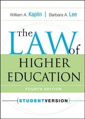 The Law of Higher Education 4th edition 9780787970956 0787970956