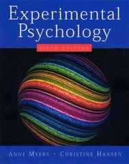 Experimental Psychology 6th edition 9780534634414 0534634419