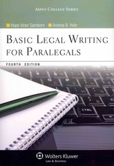 Basic Legal Writing for Paralegals 4th Edition 9781454808909 145480890X