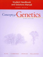 Student Handbook and Solutions Manual for Concepts of Genetics 9th edition 9780321544605 0321544609