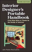 Interior Designer's Portable Handbook: First-Step Rules of Thumb for the Design of Interiors 3rd Edition 9780071782067 0071782060