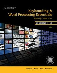 Keyboarding and Word Processing Essentials, Lessons 1-55, Spiral bound Version 19th Edition 9781285966199 1285966198