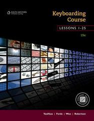 Keyboarding Course, Lessons 1-25 19th Edition 9781285966205 1285966201