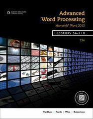Advanced Word Processing, Lessons 56-110 19th Edition 9781285966182 128596618X