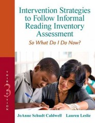 Intervention Strategies to Follow Informal Reading Inventory Assessment 3rd Edition 9780132907088 0132907089