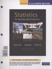 Statistics for Business and Economics, Books a la Carte Edition with MyStatLab 11th edition 9780321705877 0321705874