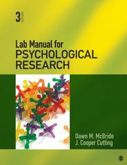 Lab Manual for Psychological Research 3rd Edition 9781412999328 1412999324