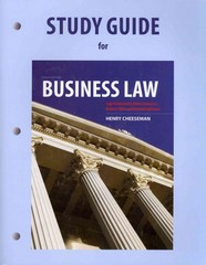 Study Guide for Business Law 8th Edition 9780132969987 013296998X