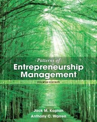Patterns of Entrepreneurship Management 4th Edition 9781118358535 1118358538