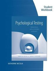 Student Workbook for Kaplan/Saccuzzo's Psychological Testing: Principles, Applications, and Issues, 8th 8th Edition 9781133492078 113349207X