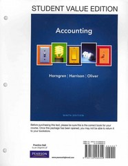 Accounting, Student Value Edition Plus NEW MyAccountingLab with Pearson eText -- Access Card Package 9th edition 9780132959681 0132959682