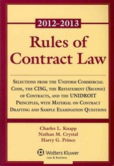 Rules of Contract Law 2012-2013 Statutory Supplement 1st Edition 9781454818564 1454818565