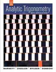 Analytic Trigonometry with Applications 10th Edition 9780470280768 047028076X
