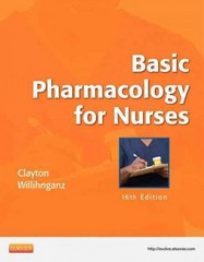 Basic Pharmacology for Nurses 16th Edition 9780323086547 0323086543