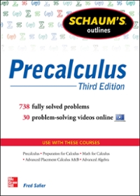 Schaum's Outline of Precalculus, 3rd Edition 3rd Edition 9780071795593 0071795596