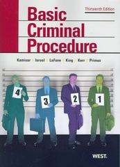 Basic Criminal Procedure 13th Edition 9780314911667 0314911669