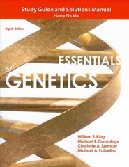 Study Guide and Solutions Manual for Essentials of Genetics 8th Edition 9780321857217 0321857216