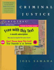 Criminal Justice (with Student CDROM, Juvenile Justice Chapter, and InfoTrac) 6th edition 9780534595005 0534595006