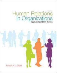 Human Relations in Organizations 9th Edition 9780078029202 0078029201