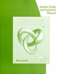 Student Study and Solutions Manual for Larson's Precalculus with Limits 3rd Edition 9781285786094 1285786092