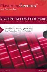 MasteringGenetics with Pearson eText -- Standalone Access Card -- for Essentials of Genetics 8th Edition 9780321857859 0321857852