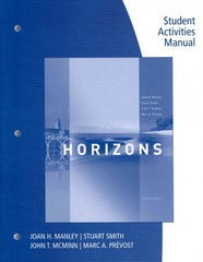 Student Activities Manual for Manley/Smith/Prevost/McMinn's Horizons, 6th 6th Edition 9781285433936 1285433939