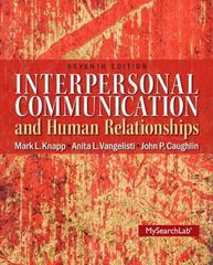 Interpersonal Communication & Human Relationships 7th Edition 9780205006083 0205006086