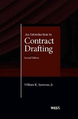 Sjostrom's an Introduction to Contract Drafting, 2d 2nd Edition 9780314287236 031428723X