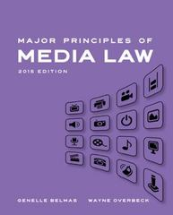 Major Principles of Media Law, 2015 1st Edition 9781285764498 1285764498