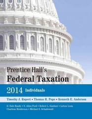Prentice Hall's Federal Taxation 2014 Individuals 27th Edition 9780133450279 0133450279