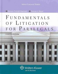 Fundamentals of Litigation for Paralegals 8th Edition 9781454831341 1454831340