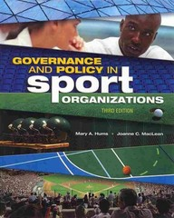 Governance and Policy in Sport Organizations 3rd Edition 9781934432754 193443275X