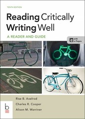 Reading Critically, Writing Well 10th Edition 9781457649905 145764990X