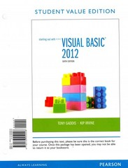 Starting Out with Visual Basic 2012, Student Value Edition Plus MyProgrammingLab with Pearson eText -- Access Card Package 6th Edition 9780133441864 0133441865