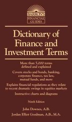 Dictionary of Finance and Investment Terms 9th Edition 9781438001401 1438001401