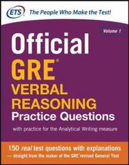 Official GRE Verbal Reasoning Practice Questions 1st Edition 9780071834308 0071834303